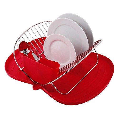 MSV Geschirrabtropfkorb mit Kunststoffplatte 48x38x17cm aus Stahl in rot, 48x38x17 cm