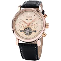 GuTe Orologio automatico da uomo, in oro rosa, con giorno, data, mese, anno