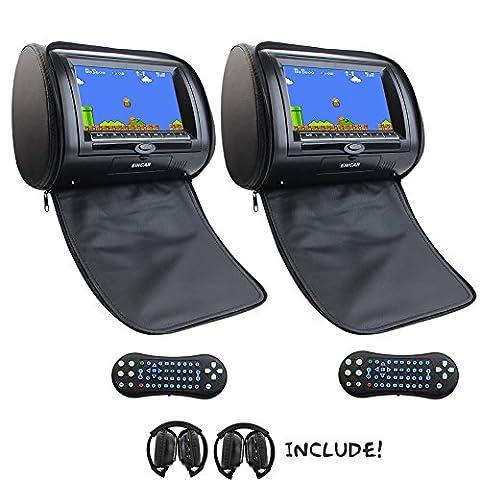 Car Eincar 2X 7 pouces DVD palyer Support pour moniteur Têtière mp3 / mp4 / dvd / cd SD / USB 32 bit Jeux FM / AM IR appuie-tête lecteur multimédia appuie-tête de siège de voiture + 2 IR casque (noir)
