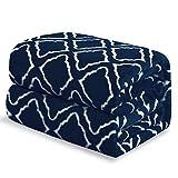Bedsure Manta para sofá y Cama Grande 230x270cm patrón de celosía, Azul Marino - Manta esponjosa Super Suave - Colcha y edredon Manta Borreguillo de Lana para Viajes, Picnic y Camping