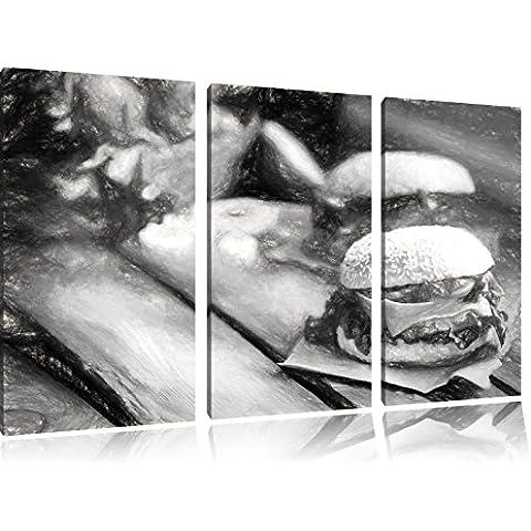 Tasty Burger carbone effetto disegno 3 pezzi picture tela 120x80 immagine sulla tela, XXL enormi immagini completamente Pagina con la barella, stampe d'arte sul murale cornice gänstiger come la pittura o un dipinto ad olio, non un manifesto o un banner,