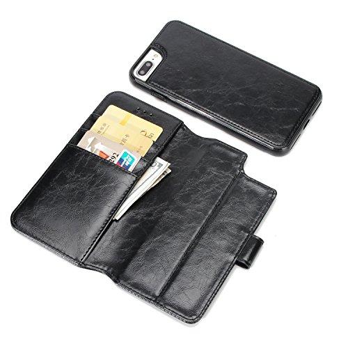 BCIT iPhone 7 Plus Leder Handytasche - Geldbörse mit Kartenfach abnehmbar Magnet Handy Schutzhülle für iPhone 7 Plus - Blau Schwarz