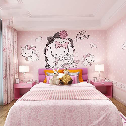 Kinderzimmer wallpaper_Girl Tapete Kinderzimmer wallpaper Cartoon Hello Kitty ohne WandbilderWallpaper 3D Fototapete Paste Grenze Wandbild Tapete Fototapete Wandbilder-300cm×210cm