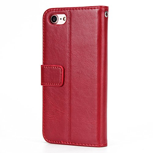 iPhone 7 Hülle Leder, E-Lush Premium PU Leder Tasche für iphone 7 8(4,7 Zoll), Einfach Einfarbig Muster Klapphülle 360 Full Body Protection Flip Case Wallet Cover Weiche Flexible TPU Soft Rückseite Ab rot