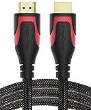 FosPower HDMI Kabel 1,8m[VERGOLDET|Nylon Mantel|Hochgeschwindigkeit][UHD 4K|3D|Ethernet|Audio]für HDTV/Blu Ray Player/PC/Konsole - Schwarz/Rot