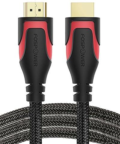 HDMI Kabel 1,8M/6ft, FosPower Nylon Geflochtenes Hochgeschwindigkeits-HDMI-Kabel [UHD 4K | 3D | Ethernet | Audio Rückkehr - Trifft den Neuesten Standard] Vergoldet für HDTV, Blu Ray Player, PC, Spielkonsolen (Schwarz / Rot)
