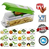 MIRAZ 12 IN 1 PREMIUM VEGETABLE CUTTER WITH CHOPPER ~ Fruit Cutter ~ Cheese Shredder ~ Vegetable Grater ~ Vegetable Slicer ~ Chips Maker ~ French Fries Maker ~ Best Kitchen Tool ~ Unbreakable Poly-Carbonate Body ~ 100% Virgin A Grade Plastic ~ High Grade