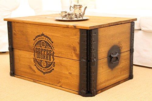 Uncle Joe´s Truhe Coffee Couchtisch Truhentisch im Vintage Shabby chic Style aus Massiv-Holz in braun mit Stauraum und Deckel Holzkiste Beistelltisch Landhaus Wohnzimmertisch Holztisch nussbaum - 3