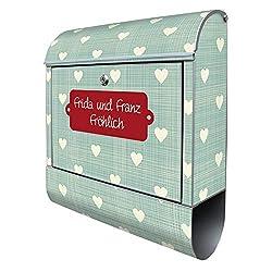 Banjado Design Briefkasten personalisiert mit Motiv WT Muster Herzen | Stahl pulverbeschichtet mit Zeitungsrolle | Größe 38x47x14cm, 2 Schlüssel, A4 Einwurf, inkl. Montagematerial mit Beschriftung