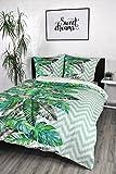 jilda-tex Bettwäsche Renforcebettwäsche Digitaldruck 100% Baumwolle Design Jungle Leaf 135 x 200 cm Dschungelbettwäsche Tropenbettwäsche