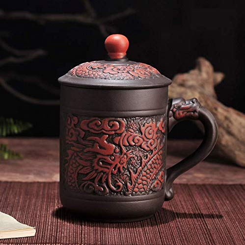 qnmbdgm Yixing Zisha Teetasse mit Deckel Dragon Phoenix Lila Lehm Teetasse 380 ml Teetasse Geschenk Becher