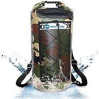 Zwini Bolsa Estanca impermeable Bolsa para Material 25L Saco seco a prueba de agua con correa de hombro ajustable larga Bolsa Seca para Kayak, Playa, Rafting, Canotaje, Senderismo, Camping y Pesca