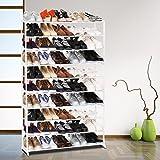 Imposes Schuhregal aus Metall und Kunststoff Schuhablage mit 4/7/10 Ebenen Ablagen Praktischer Schuhschrank Schuhständer 92 x 17 x 47/96/138 cm für ca. 50 Paar Schuhe