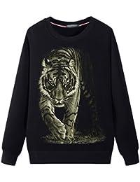Mens Round Neck Sweater Fashion Sweatshirts,Tiger Graphic
