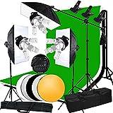 Abeststudio 3375W 15 lampes Softbox éclairage kit continu culot 5 en 1 pour studio photo vidéo photographie, 3 boîte à lumière 50x70cm, 15 ampoule 5500K lumière du jour,4 de fond (Noir / Blanc / Vert / Gris), 3 trépied support et une potence plus sac de transport