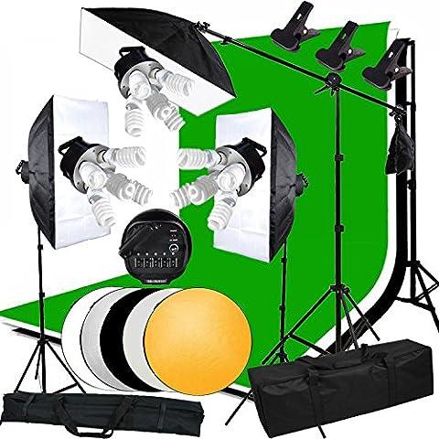 Abeststudio Estudio Photo 3375W Kit de iluminación continua Softbox telones de fondo con 3 X 5 (Head--5pcs titular de la luz en los botones / apagado durante 5 bulbos) + 1.6x3M Contextos (Negro / Blanco / verde / gris) Kit + 3x + Caja de luz lleva el bolso