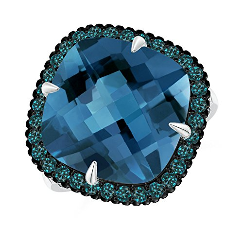 Angara.com - 14 Kt Weißgold Kissenschliff London Blue Topaz (Topas In Ring Blue Weissgold London)