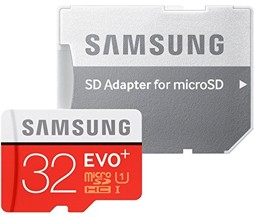 Samsung Memory 32 GB EVO Plus MicroSDHC UHS-I Grade 1 Class 10 Memory Card with SD Adapter - Black/Red/White