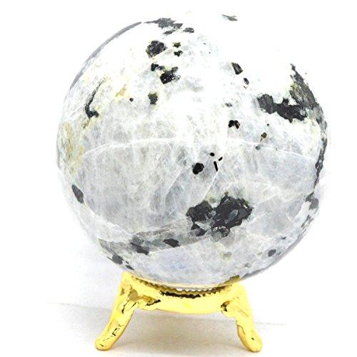 Cristaux de guérison Inde : 5,1 cm arc-en-ciel Pierre de Lune Sphère avec tourmaline noire Rare Bleu Flash Naturel Boule de cristal poli Feldspath Mineral Love Pierre – Inde