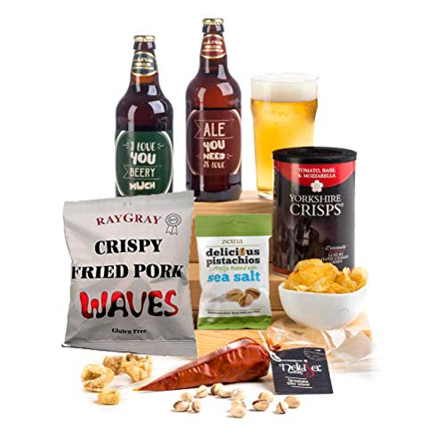 Say I Love You Beery Much - Beer, Spicy Salami & Nibbles Hamper Box Fun Pun Labels for Him