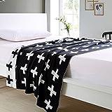 Die besten Krippe-Bettwäsche - Schwarzweiss Schweizer Kreuz-Muster Personalisierte Knitting Cotton Kleinkinder -Krippe-Bettwäsche Bewertungen