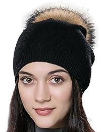 URSFUR Unisex Weiche Wolle Mütze Strickmütze Kappen mit Fellbommel aus  Fuchspelz Waschbär Fell f2d9de0c65