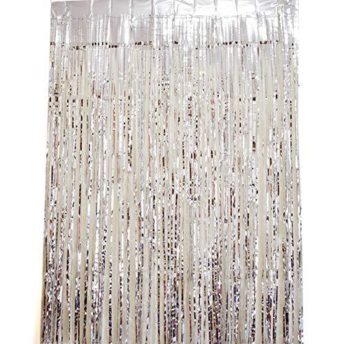 Folienvorhänge Metallic Lametta Vorhänge 4 er Set Tür Fenster Dekorationen für Hochzeit Geburtstag Weihnachtsschmuck (4er Set (100*200 cm), Silber)