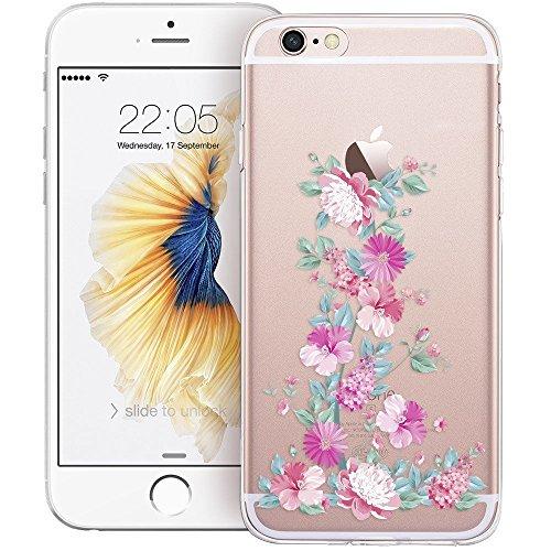 Blitz® Mania Series Transparent Weiche Silikon Schutzhülle TPU Bumper Case iPhone Ballon Mädchen iPhone 7 Blumen blühen