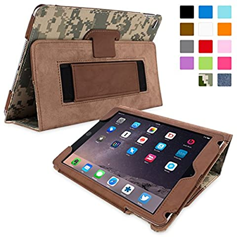 iPad Air 2 Case, Snugg - Digital Camouflage Leather Smart Case Cover [Lifetime Guarantee] Apple iPad Air 2 Protective Flip Stand Cover with Auto Wake / Sleep - Colorata Tessuto Blu