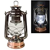 Voche Traditional 15 LED Hurricane Miners Lantern Light Lamp - Antique Style Bronze Copper Finish and Adjustable Dimmer Function