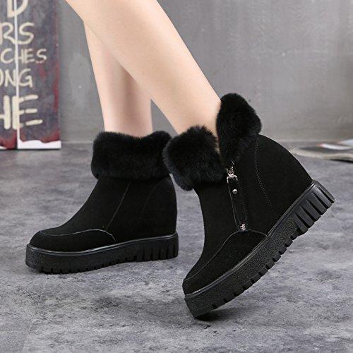 Des bottes d'hiver a augmenté de velours épais velours chaussures fermeture éclair à la fin du préchauffage des chaussures en coton