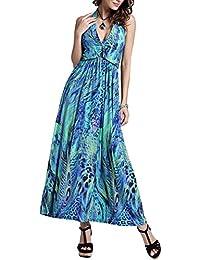 Las mujeres Floral Imprimir Bohemio cuello del halter Vestidos maxi largos del vestido de la playa del partido Un tamaño Verde
