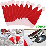 Nsblln 10 PCS/Set Christmas Hat Cutlery Bag Candy Gift Bags Cute Pocket Fork Cutter Holder Table Dinner Decoration JS23