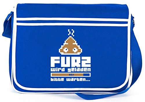 Shirtstreet24, Furz wird geladen..., Retro Messenger Bag Kuriertasche Umhängetasche Royal Blau