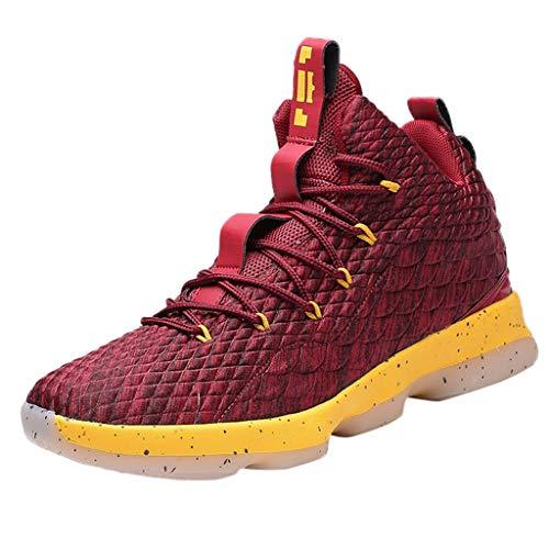 LABIUO Herren Sportschuhe,Lässige Atmungsaktive rutschfeste Den Außenbereich High Top Laufschuhe Basketball Schuhe 39-45(Wein,44) -