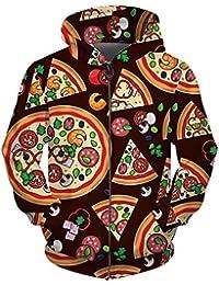 B-Pertand Cremallera para Hombres Mujeres Sudaderas con Capucha Pizza Estampado 3D Sudadera Hombres Abrigo