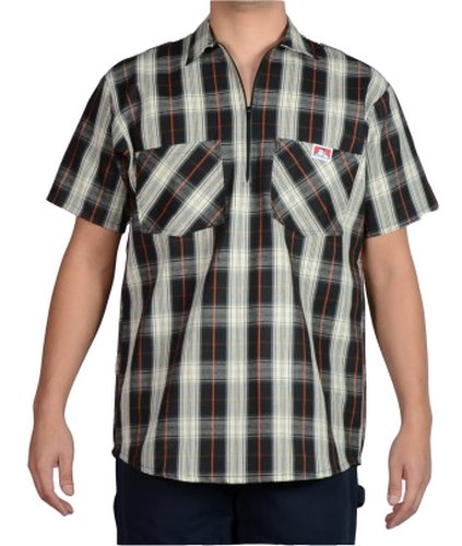 Ben Davis Hemd Shirt Short Sleeve Solid Halfzipper Workwear Black/Cream (M) - Ben Short Sleeve T-shirt