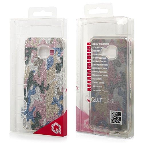 EGO ® Hülle Glitzer Schutzhülle + Panzerglas für iPhone 6 Plus 6S Plus, Silber Blume Back Case Bumper Glänzend Transparente TPU Bling Weiche Glamour Handy Cover Camouflage Pink