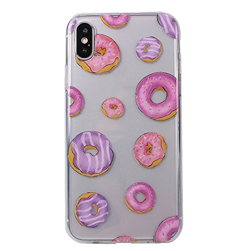 Coque iPhone X,Etui Housse iPhone X Transparente Rosa Schleife iPhone 10 Silicone Souple Housse TPU Gel Clear Case léger Ultraslim Portable Telephone Bumper arriere Coque Protection Protective Cover P 1-a5