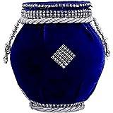 Radha Krishna Creations Blue And Silver Color Terracotta Material Velvet Handi