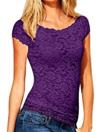 DAY8 Haut Femme Sexy Chic Soirée Vêtement Femme Été Grande Taille a la Mode  Chemise Femme Dentelle T Shirt Femme Manche Courte… c3329bd805ee