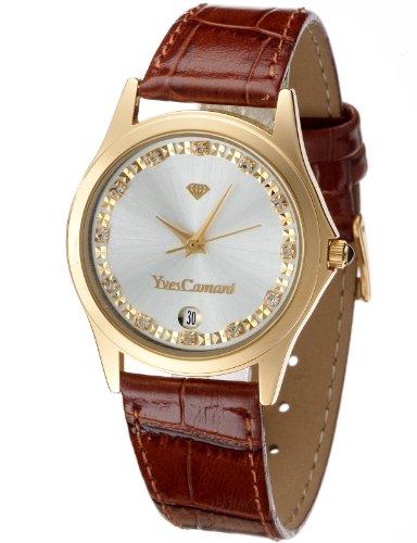 Yves Camani Twinkle - Reloj de cuarzo para mujeres, con correa de cuero de color marrón, esfera plateada