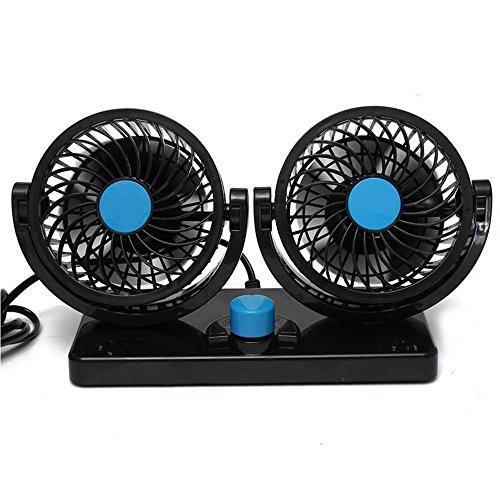 BestFire Regolazione Libera 360 Rotating Dual Head Auto Car Raffreddamento Aria Ventilatore Potenti Tranquilla a 2 Ventole a Velocità Ruotabile 12V Ventilazione Cruscotto Auto Elettrica Estate di Raffreddamento Aria Circolatore Low Noise