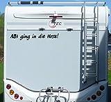 Aufkleber Abi ging in die Hose Wohnmobil Wohnwagen Camper Camping Caravan Auto - 100 cm / Schwarz