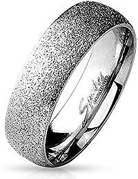 Paula & Fritz®, sabbia scintillante 6 mm di larghezza, anello da donna, anello di fidanzamento, anello dell'amicizia, anello per signore, in acciaio inox chirurgico 316L, argento, oro, nero, arcobaleno