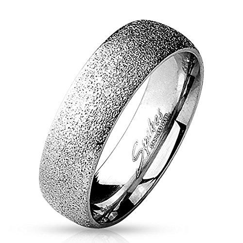 Paula & Fritz Sand Glitzer 6mm breit Damen-ring Verlobungs-ring Freundschaftsring Herrenring Partnerring Edelstahl Chirurgenstahl 316L silber 60 (19)