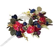 Cereoth Corona de flores Corona de flores florales Corona de guirnaldas para fiestas de boda Tocado Blanco Rojo