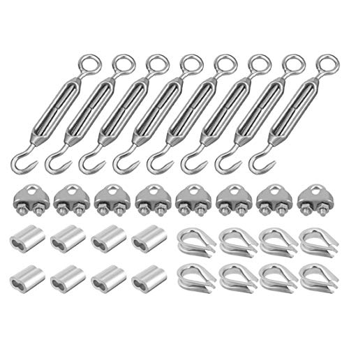 ZCHXD Wire Rope Aluminum Sleeve Clip Thimble M6 Thread Hook Eye Turnbuckle Hardware Kit 8Sets - M6 Hardware Kit