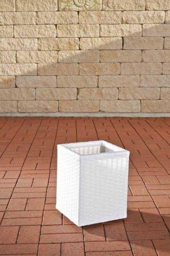 CLP Bac à Fleur Carré en Poly Rotin Laura M - Pots de Fleur en Résine pour Le Jardin la Terrasse ou Le Balcon et Aussi pour l'Intérieur - Hauteur 35 cm - Couleur au Choix : Blanc