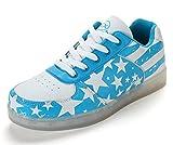 Honeystore Unisex-Erwachsene LED Schuhe 7 Farben USB Aufladen LED Leuchtend Sport Schuhe Sportschuhe LED Sneaker Turnschuhe für Herren Damen Blau 40 CN